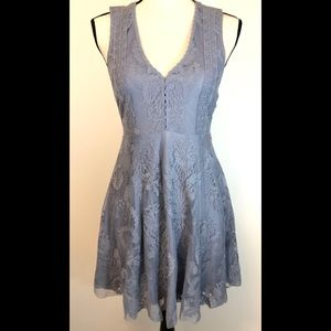 Free People Lace Dress Gray Fully Lined V-Neck